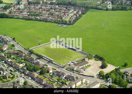 Aerial view of Hendon Football Club, also known as the Loot Stadium on the Clitterhouse Playing Fields in Brent - Stock Image
