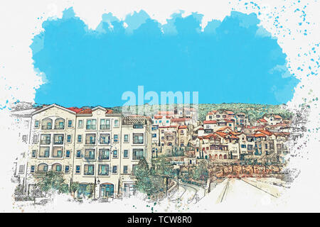 Watercolor sketch or illustration of a view of the city street of a small town. - Stock Image