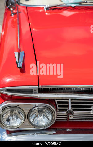 Detail of a red 1959 Chevrolet car - Stock Image