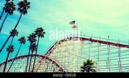 Wood Roller Coaster, Santa Cruz, CA - Stock Image
