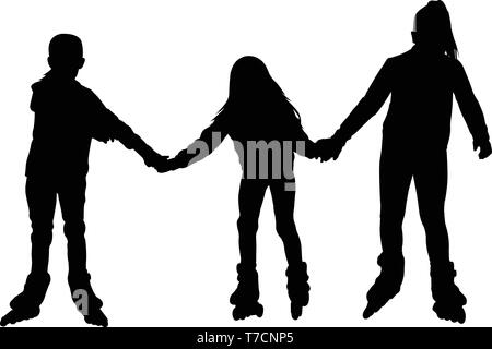 little girls rollerblading together silhouette - vector - Stock Image