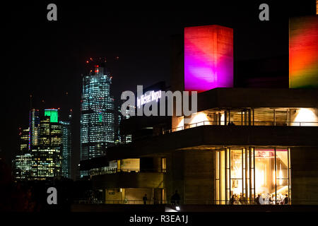 LONDON - NOVEMBER 15 : The Royal National Theatre in London at nighttime on 15 November 2018 - Stock Image