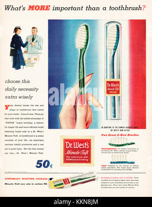 1943 U.S. Magazine Dr West Toothbrush Advert - Stock Image