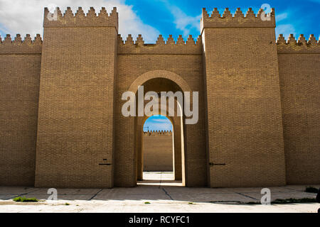 6416. The Ishtar Gate was the eighth gate to the inner city of Babylon. It was constructed in about 575 BC by  King Nebuchadnezzar II.(reconstruction) - Stock Image