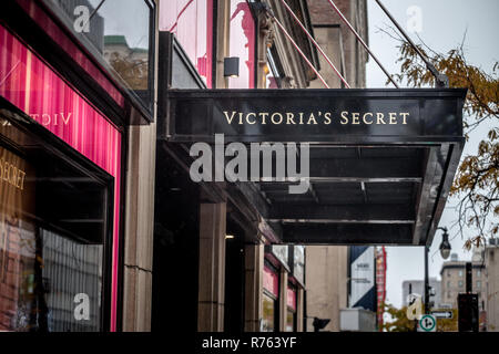 MONTREAL, CANADA - NOVEMBER 5, 2018: Victoria's Secret logo in front of their main store for Montreal. Victoria's Secret is a luxury lingerie American - Stock Image