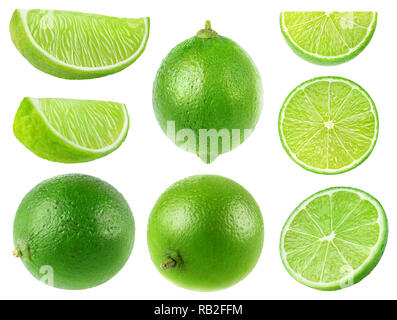 Isolated limes. Collection of whole and lime fruits isolated on white background with clipping path - Stock Image