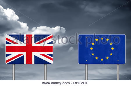 Brexit between United Kingdom and the European Union - Stock Image