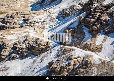 Rocky landscape, view from Sass Pordoi Mountain, 2925 m, towards the Sella Group, Dolomites, Italy, Europe - Stock Image