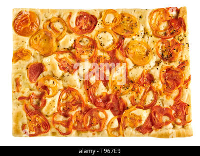 Freshly baked rectangular serving of traditional Italian focaccia flat bread with tomatoes viewed from above isolated on white - Stock Image