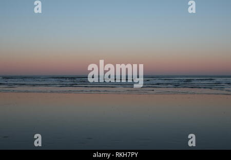 West Sands beach at dusk St Andrews Fife Scotland  February 2019 - Stock Image