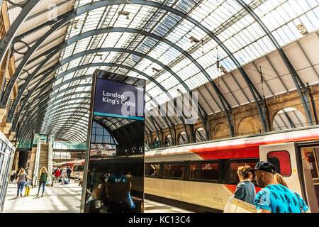 inside Kings Cross rail station London UK, Kings cross London UK England, Kings cross London, London UK England, - Stock Image
