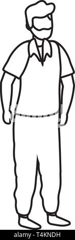 young man cartoon vector illustration graphic design - Stock Image