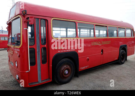 London, UK, 30th March, 2019. London bus museum is running old buses in Barking, and passengers can board them for free. Credit: Yanice Idir / Alamy Live News - Stock Image