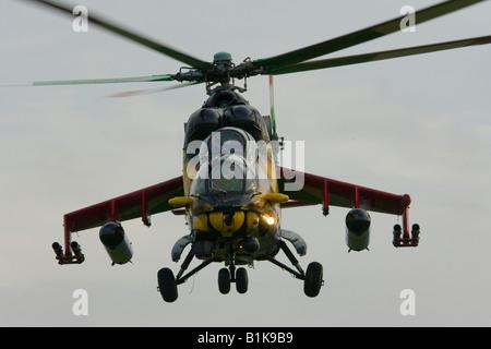 Hungarian Mi-24 in flight, frontal view, Airshow Maribor 2008, Slovenia June 15, 2008 - Stock Image