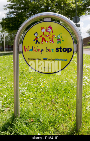 School Walking Bus Stop Sign Signpost Post - Stock Image