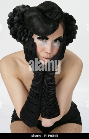 Portrait of a Burlesque Performer - Stock Image
