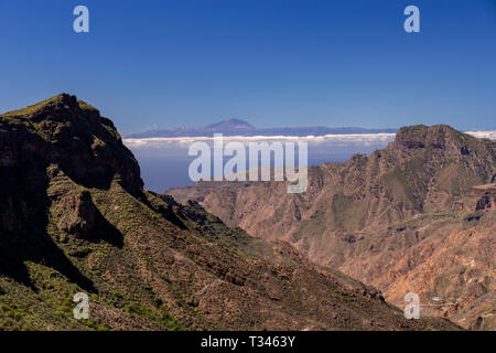 Mount Tiede on Tenerife from Tejeda on Gran Canaria in the Canary Islands - Stock Image