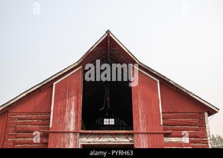 Workhorse Barn at the Bar U Ranch, National Historic Site of Canada, Parks Canada, Longview, Alberta, Canada - Stock Image