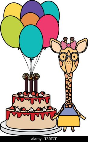 cute giraffe with balloon helium and cake in birthday party vector illustration design - Stock Image