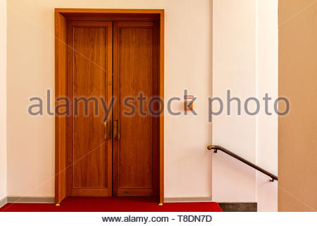 Berlin, Germany. Interior door inside a staircase of a museum. - Stock Image
