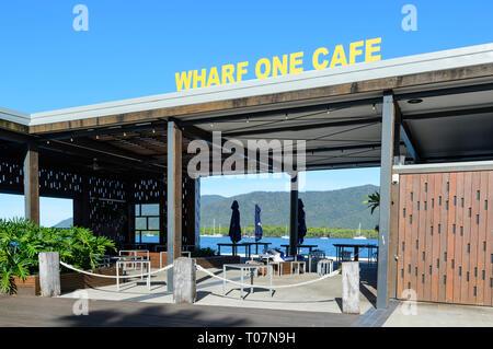 Exterior of Wharf One Café, a bar and restaurant along Trinity Inlet, Cairns Wharf, Far North Queensland, FNQ, QLD, Australia - Stock Image