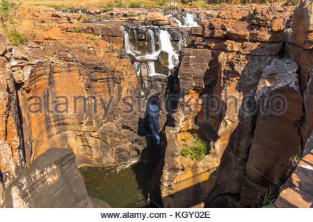 Upper Blyde River Canyon showing the waterfalls and part of the bourkes Luck Potholes - Stock Image
