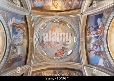 COMO, ITALY - MAY 9, 2015: The frescoes in the cupola of church Chiesa di San Andrea Apostolo (Brunate) of by Mario Albertella (1934). - Stock Image