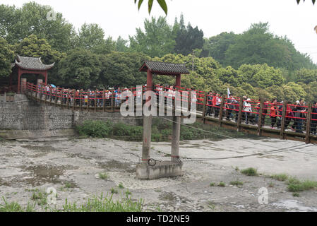 Dujiangyan is an ancient irrigation system in Dujiangyan City, Sichuan, China. Originally constructed around 256 BC by the State of Qin as an irrigati - Stock Image