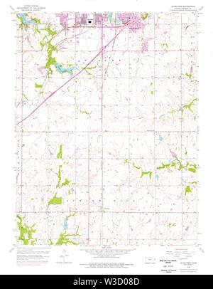 USGS TOPO Map Kansas KS Ocheltree 512147 1956 24000 Restoration - Stock Image