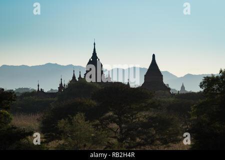 The spires of temples in Bagan, Myanmar - Stock Image