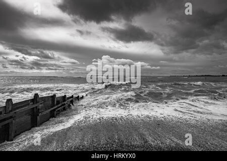 Stormy sea at West Wittering, Sussex, England. - Stock Image