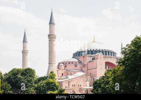 Beautiful view of Hagia Sophia in Istanbul. Mosque on Sultanahmet square. - Stock Image