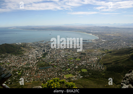 A View from Table Mountain Overlooking Cape Town and Table Bay, Western Cape Province, South Africa. - Stock Image