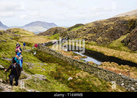 Ramblers group hiking on path up Yr Aran mountain north ridge in mountains of Snowdonia National Park. Gwynedd, Wales, UK, Britain - Stock Image