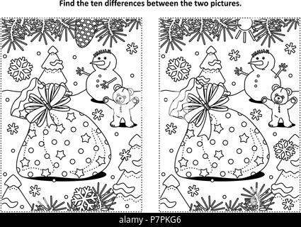 Winter holidays themed find the ten differences picture puzzle and coloring page with Santa's sack, teddy bear, snowman. - Stock Image