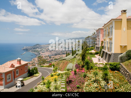 Luxury villas and apartments at Palheiro Village, a luxury private condominium complex set in the hills above Funchal, - Stock Image