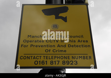 cctv manchester city council sign yellow - Stock Image