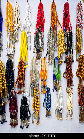 Selection of traditional prayer beads on display at a Turkish market - Stock Image
