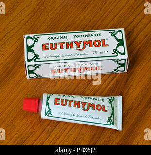 Euthymol Original Toothpaste. A scientific Dental Preparation. 75 ml. tube and cardboard box container. - Stock Image