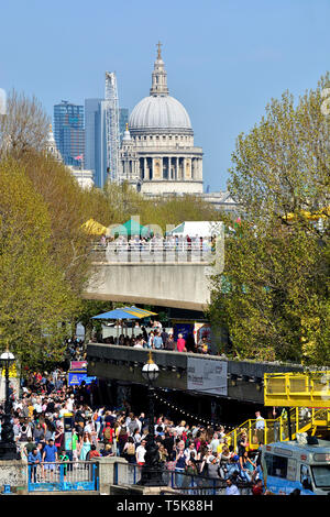 London, England, UK. St Paul's Cathedral seen from the Southbank Complex - Waterloo Bridge in the foreground - Stock Image