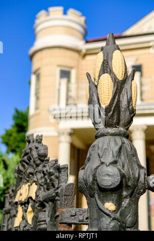 Exterior detail of the wrought iron fence in front of The Cornstalk Hotel, Cornstalk Fence Hotel, New Orleans French Quarter, New Orleans, USA - Stock Image