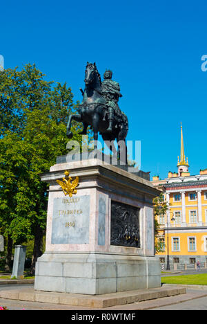 Monument to Peter the Great, in front of St Michael's Castle, Saint Petersburg, Russia - Stock Image