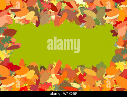 Frame from many fallen illustrated colorful autumn leaves with copy space - Stock Image