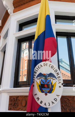 The exterior of the Columbian embassy in Knightsbridge, on 11th April 2019, in London England. - Stock Image