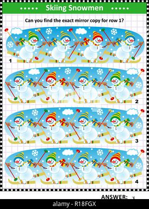 IQ training visual puzzle with skiing snowmen: Find the mirrored copy for row 1. Answer included. - Stock Image