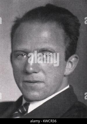 Werner Heisenberg, theoretical physicist, was awarded the 1932 Nobel Prize. He contributed to the development of - Stock Image