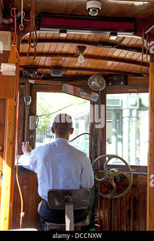 Interior of a vintage tram trolley car and its driver in Memphis Tennessee usa - Stock Image