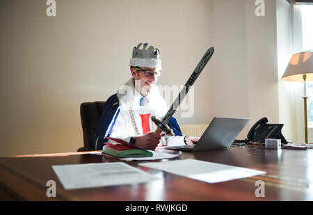 Eastbourne UK 7th March 2019 -  Principal of Roedean Moira House School in Eastbourne Andrew Wood dressed as King Arthur today as part of World Book Day - Stock Image