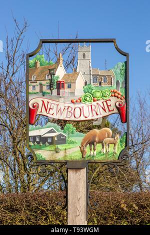 Close-up of village sign Newbourne, Suffolk, England, UK - Stock Image