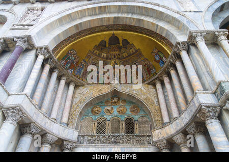 At marks basilica with mosaic dome in the Doges palace Venice Italy - Stock Image